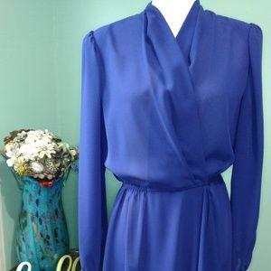 Vintage Leslie Fay Royal Blue Faux Wrap Dress